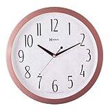 Relógio Parede Herweg Silencioso Rosê Branco Redondo Moderno