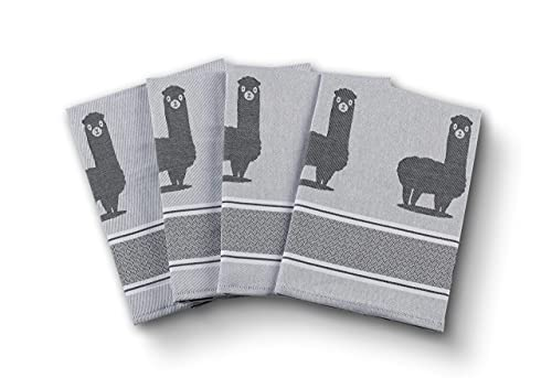 saewelo 4er Set Geschirrtücher in Geschenkverpackung, 100% Baumwolle, 50x70 cm (Alpaca, Grau)