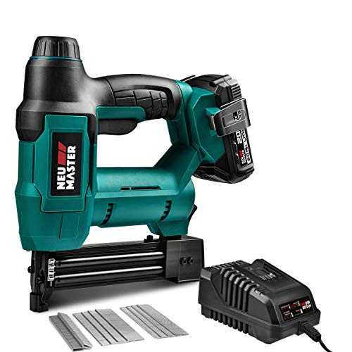 Cordless Brad Nailer, NEU MASTER NTC0023 Rechargeable Nail Gun/Staple Gun for Upholstery, Carpentry...