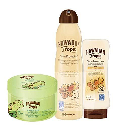 Hawaiian Tropic - Total Satin - Crema Solar en Loción Satin Protection Ultra Radiance SPF 30 200ml + Spray Solar en Bruma Satin protection SPF 30 180ml + After Sun Body Butter Lima Colada 200ml