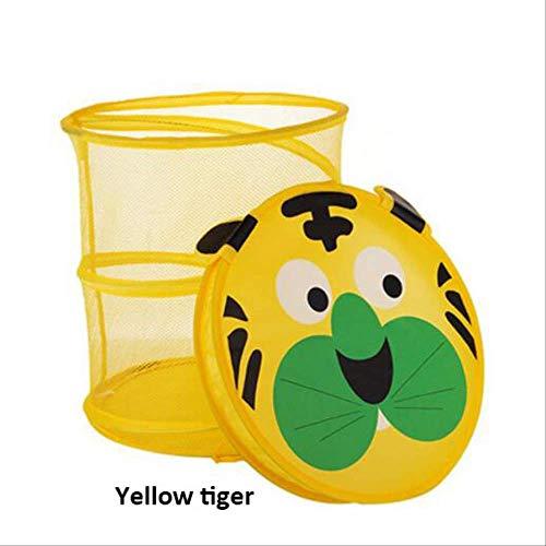 Cesto de la ropa amarillo con tapa con diseño infantil