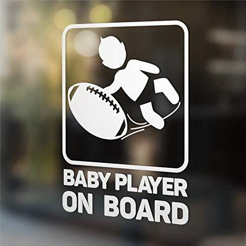 DONL9BAUER Baby Player on Board Rugby Auto Aufkleber Vinyl Auto Scratch Cover Niedliche Baby Fenster Aufkleber für Laptop Reise Tasche Tumbler Tür Stoßstange Gepäck