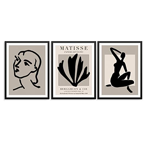 Picture Gallery Art Print Set Abstract Woman's Body, Line Drawing Face, and Palm Leaf 11'x14' UNFRAMED Matisse Artwork Reproduction - Modern Home Decor for Bedroom Bathroom or Living Room (OPTION 1)