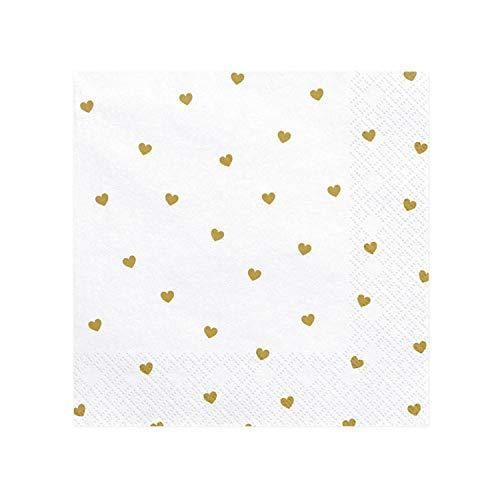 20 Servietten weiß, Herzen gold | aus Papier