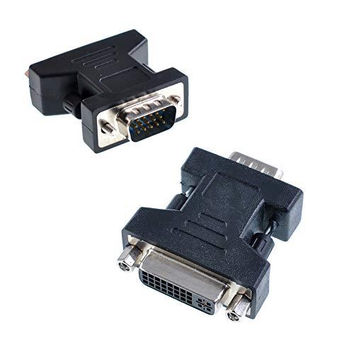 Oiyagai 2 piezas DVI-I hembra a VGA conector adaptador macho negro DVI...