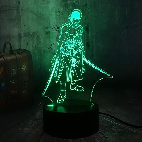 Anime dibujos animados cómics película una pieza tres espadas asesino Roronoa Zoro 3D LED luz de noche niños ventiladores dormitorio lámpara de mesa regalo para niños decoración del hogar