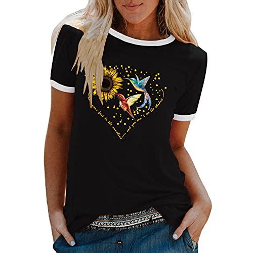 EMATOP T-Shirt Damen Sommer Bluse Tops Lässig Tunika Mode Kurzarm Blusen Sonnenblume Schmetterling Drucken Basic Shirts Bequemes Schlankes Oberteil Rundhals Sweatshirts Frauen