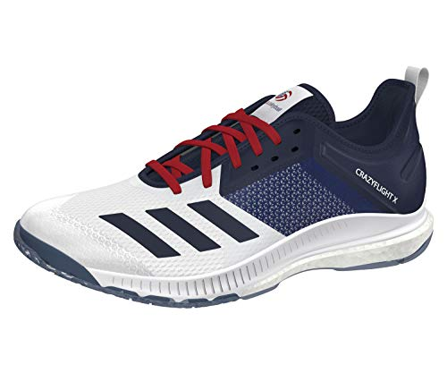 Adidas Scarpa Volley Crazyflight X3 Low USAV Unisex (46 2/3 EU, cloudwhite/collegiatenavy/powerred)