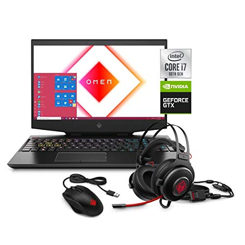 Omen by HP 15 FHD Gaming Laptop, Intel Core i7-10750H, NVIDIA GeForce GTX 1660 Ti 6GB, 8GB RAM, 1TB HDD + 256GB SSD, Mouse and Headset Bundle