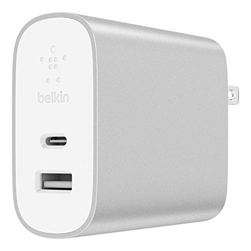 Belkin Boost Charge 27W USB-C + 12W USB-A Wall Charger (39W Total), Compatible with iPhone 11, 11 Pro, 11 Pro Max, XS, XS Max, XR, X, 8, 8 Plus and Previous iPhone Models with Lightning Connector