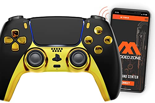 Black/Gold Smart Rapid Fire Controller Compatible with PS5 DualSense Custom Modded Controller All Shooter Games & More