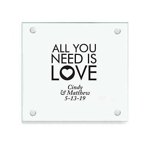 Personalized Color Printed Glass Coaster - All You Need Is Love - Black - 144 pack