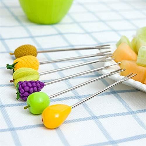 Yuxahiugcz Tenedores Herramientas de Cocina, 6pcs / Set Mini Mini Bifurcaciones de Frutas de Acero Inoxidable Ensalada Pastel Forks Forks para niños Preindicación de plástico Ornamental