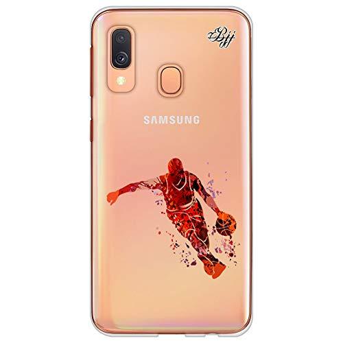 BJJ SHOP Funda Slim Transparente para [ Samsung Galaxy A40 ], Carcasa de Silicona Flexible TPU, diseño : Jugador Abstracto de Baloncesto Naranja