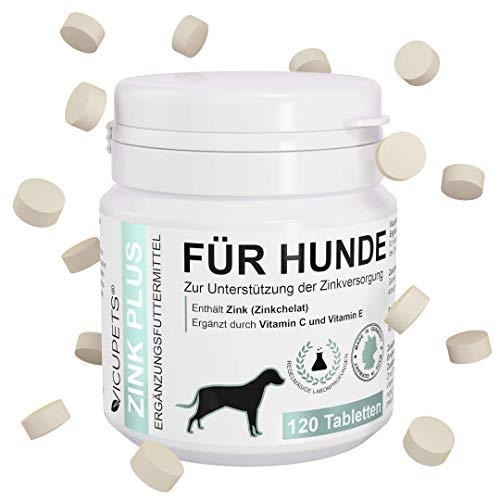 Vicupets Zink Plus - Zink Hund - 120 Tabletten - Zink für Hunde bei Juckreiz, Hautproblemen, Fellwechsel - Aufbaukur fürs Immunsystem
