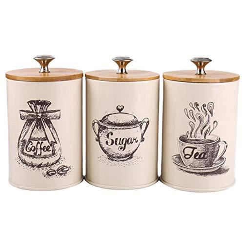 Amuzocity Paquete de 3 Botes de Almacenamiento de Cocina de Azúcar, Café Y Té Retro, Latas de Contenedores de Sal