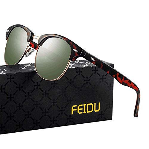FEIDU Halbrahmen Polarisierte Klassische Metall Sonnenbrillen Herren-Retro Polarisierte Sonnenbrille Damen FD 3031 (Leopard-Grün, 2.04)