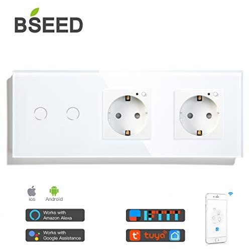 BSEED Alexa Lichtschalter mit WIFI Steckdose Work with Tuya Alexa und Google Home 2-fach 1 weg Smart Touch Lichtschalter und Doppel Eu Steckdosen Weiß