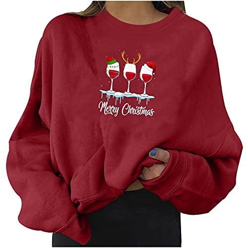 Christmas Sweatshirts for Women Cute Christmas Hat Print Sweater Trendy Tops Long Sleeve Shirts Crewneck Pullover Tunic Wine