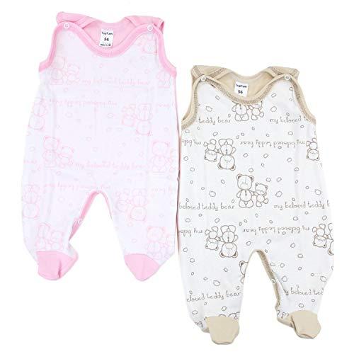 TupTam Unisex Baby Strampler Baumwolle Gemustert 2er Set, Farbe: Farbenmix 2, Größe: 56