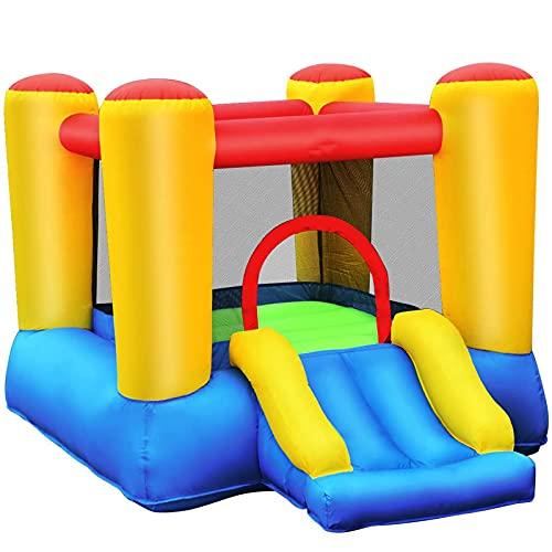 FYHpet Castillo Hinchable Juguete Saltar casa Hinchable con Tobogán para Niños con Soplador Centro de Juego con Bolsa de Transporte para Parque Patio Jardín Exterior