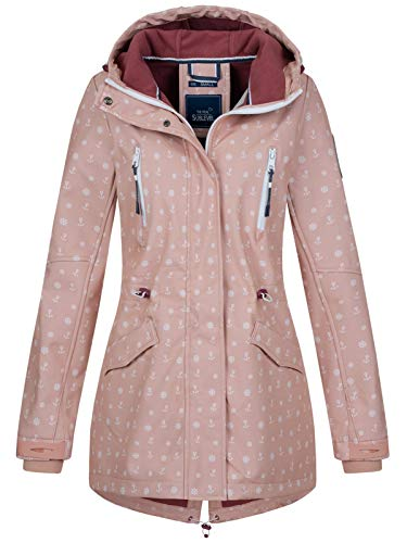Sublevel Damen Softshell-Jacke Kurzmantel LSL-367 Anker-Alloverprint Light Rose XL
