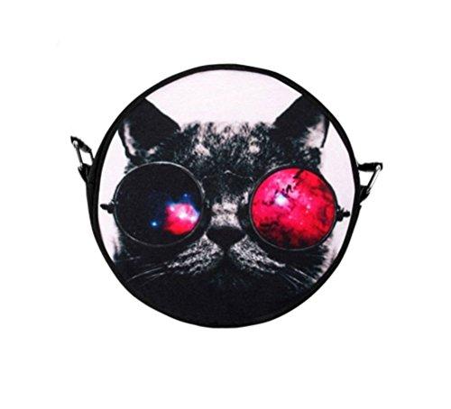 Black Out Galaxy Katze mit Brille Handtasche Tasche mit Henkel rund