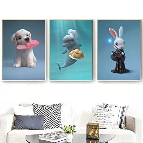 Lienzo pared Art Perro Conejo Elefante Ballena Cuadros Impresión de Imagen Artística...
