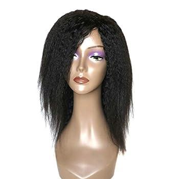LANANEL Yaki Human Hair Wigs with Bangs Brazilian Yaki Machine Made Glueless 12  Kinky Straight Human Hair Wigs with for Black Women Human Hair Half Wig Natural Color
