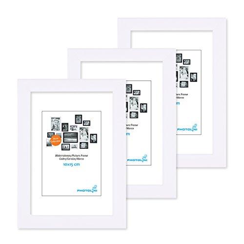 PHOTOLINI 3er Set Bilderrahmen 10x15 cm Modern Weiss aus MDF mit Acrylglas/Portraitrahmen/Wechselrahmen