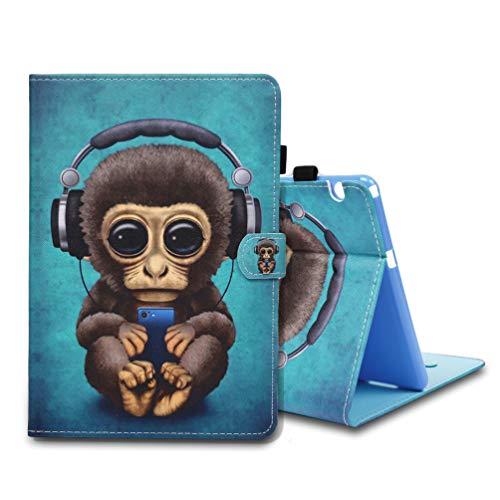 MOTIKO Kompatibel mit Huawei MediaPad T5 Lederhülle, PU-Leder, ultradünn, leicht, Flip Ständer, Smart Tablet Magnetverschluss, Schutzhülle für Huawei MediaPad T5 10.0 – Affe