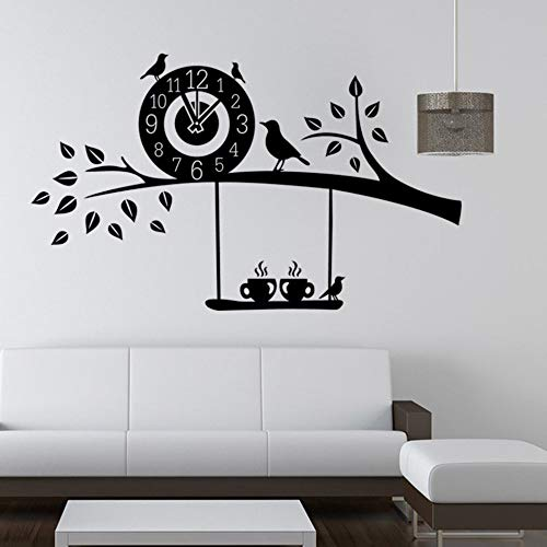 Swing Bird muursticker, gesneden, persoonlijkheid, creatief, cartoon, muurtattoo, vogel met wandklok, afneembaar, PVC, zelfklevend