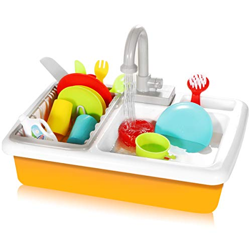 Play Kitchen Accessories Toy Pretend Sink Playset with Running Water and Plates Dishes Utensils Set Dishwasher Cookware Drainer Gift for Kids Toddlers Child Baby Girl and Boy Toys Age 3 4 5 6 7 Year