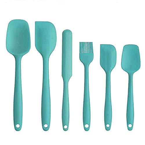 Juego de 6 espátulas de cocina de silicona antiadherentes, resistentes al calor, juego de utensilios de cocina, kit de herramientas para cocinar utensilios de cocina (tamaño libre; color: azul)