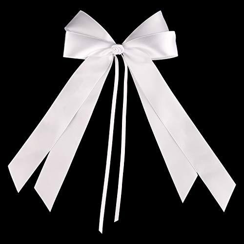 FEPITO 25 Autoschleifen Hochzeit Antennenschleifen Weiß | Schleifen Auto Hochzeit Deko Hochzeitsdeko Tisch Deko Taufe Deko | Hochwertiges Satin (Weiß)