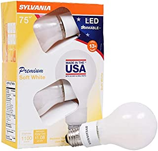 SYLVANIA General Lighting 40233, Soft White Sylvania 75 Watt Equivalent, A21 LED Light Bulbs, Dimmable, Color 2700K, Made in The USA with US and Global Parts, 4 Pack