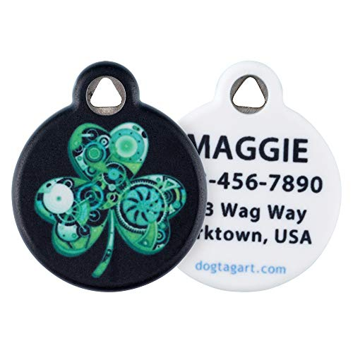 Dog Tag Art Cat or Dog Tag, Personalized Name Tag for Pets (Lean Green Irish Machine)-Large