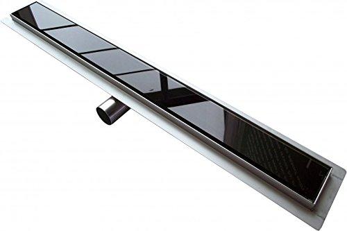 Edelstahl Duschrinne GL01 für Duschkabine - Ablaufblende Glas schwarz - Länge wählbar, Länge Duschrinne:900mm