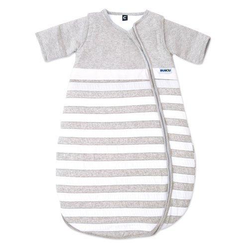 Gesslein Bubou Design 086: Temperaturregulierender Ganzjahreschlafsack/Schlafsack für Babys/Kinder, Größe 110, grau weiß gestreift