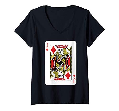 Mujer La jota de diamantes Jugando al póquer de cartas Camiseta Cuello V