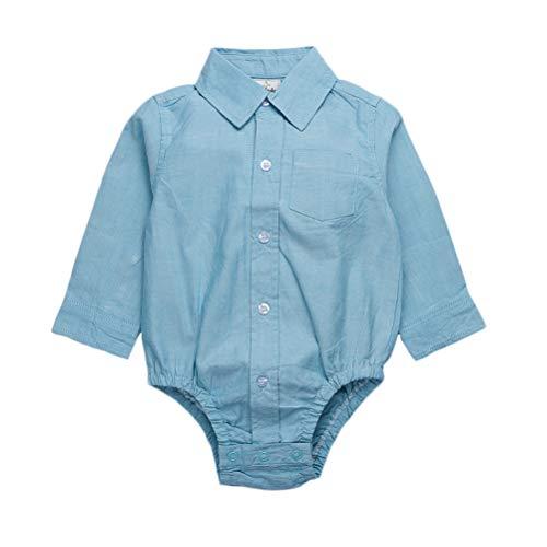 Hstyle Baby Jungen Baby Hemd Body Langarm mit Kragen Strampler Hemd festlich Bodysuit Anzug Hemd für Hochzeit Taufe Geburtstag Geschenk Sommer Kleidung