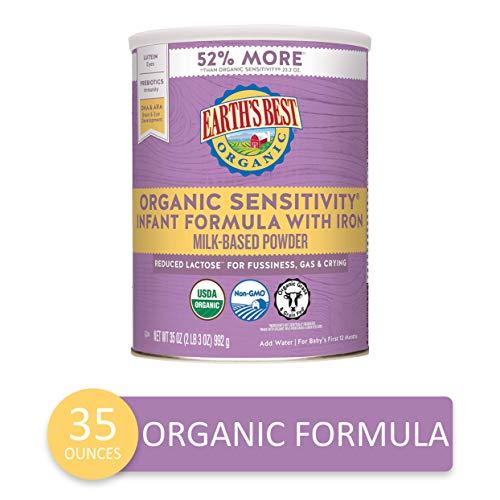 Earth#039s Best Organic Low Lactose Sensitivity Infant Powder Formula with Iron Omega3 DHA and Omega6 ARA 35 oz