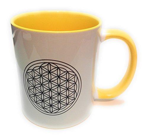 Dreamlife Kaffee- /Teetasse Blume des Lebens gelb mit Gesche