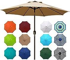 Blissun 9' Outdoor Aluminum Patio Umbrella, Striped Patio Umbrella, Market Striped Umbrella with Push Button Tilt and...