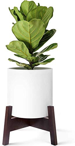 Mkono Plant Stand Wood Mid Century Flower Pot Holder (Pot NOT Included) Display Potted Rack Home Decor for 10 Inch to 12 Inch Planter, Dark Brown