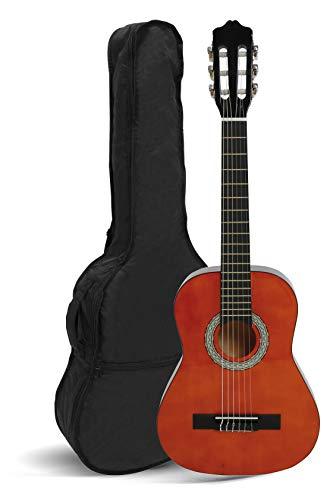 NAVARREZ Konzertgitarre 3/4 braun mit schwarzen Randeinlagen und leicht gepolsterter Tasche mit Rucksackriemen und Notenfach, 2 Plektren