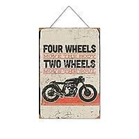 4つの車輪が体を動かす-2つの車輪が魂を動かす木製のリストプラーク木の看板ぶら下げ木製絵画パーソナライズされた広告ヴィンテージウォールサイン装飾ポスターアートサイン
