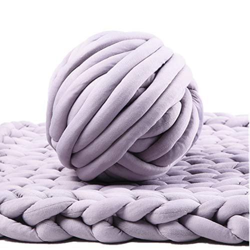 Bulky Yarn,Super Chunky Yarn Washable Roving for Arm Knitting Extreme Knitting (Light Grey)