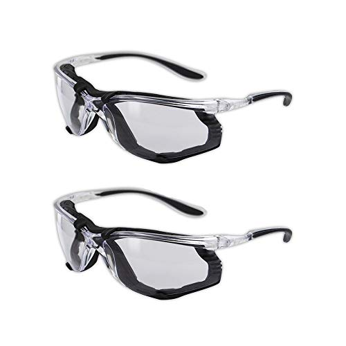 Magid Y84BKAFC Safety Glasses | Sporty Foam Lined Scratch Resistant Safety Glasses with a Clear Frame, Clear Lens & Black TPR Temples - Anti-Fog Coating, Removable EVA Foam Lining (2 Pair)