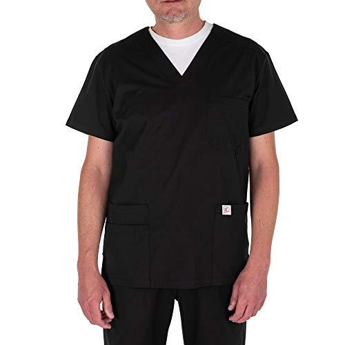 JONATHAN UNIFORM Tunika-Oberteil für Männer mit V-Ausschnitt und funktionellen Taschen für Spa, Salon, Massage, Pflege (Schwarz, S)